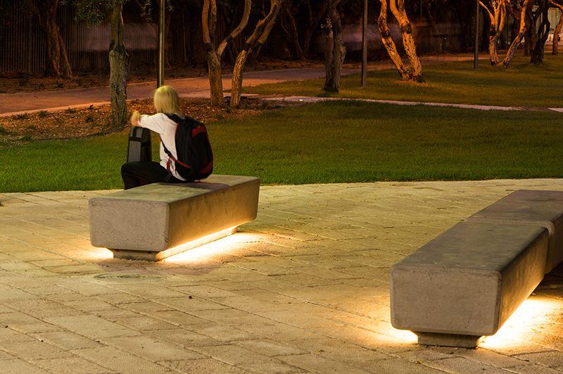Led Light Bench : Naama agassi public furniture barak led light bench